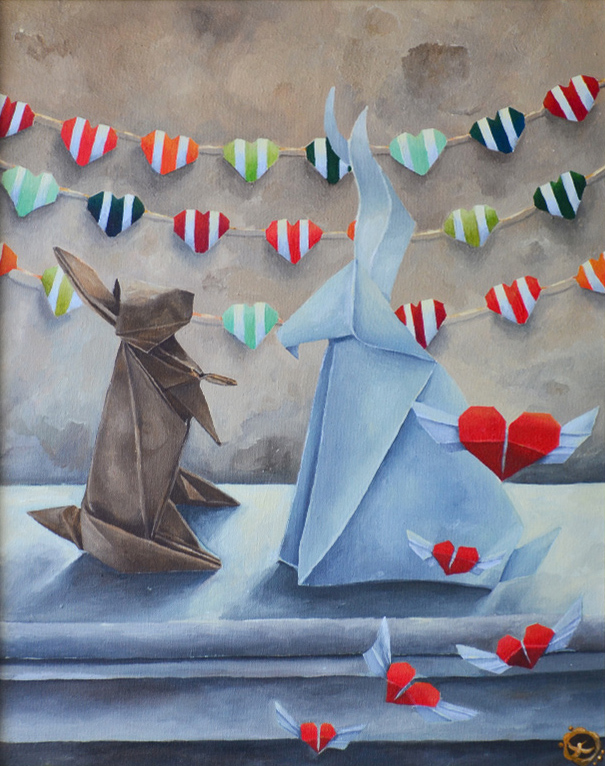Origami In Love /40x50 Framed